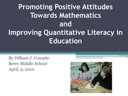 Promoting Positive Attitudes Towards Mathematics and Improving
