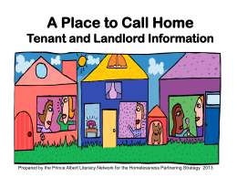 A PLACE TO CALL HOME - Prince Albert Literacy Network