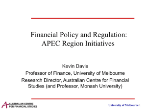 Financial Policy and Regulation: APEC Region Initiatives