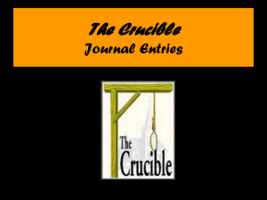 The Crucible Journal Entries