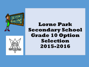 Lorne Park Secondary School Parent Information Session