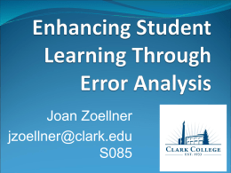 Enhancing Student Learning Through Error Analysis