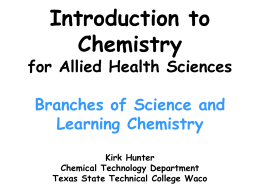 1.10 Branches of Science and Learning Chemistry