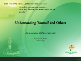 Workshop - Understanding Yourself and others