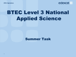 BTEC Appplied Science Summer Task