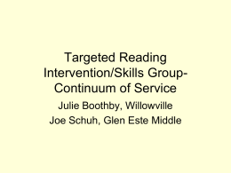 Targeted Reading Intervention/Skills Group