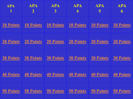 APA Jeopardy - WordPress.com
