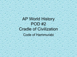 Class Notes - Code of Hammurabi