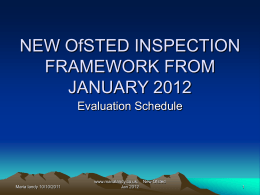 OfSTED Inspection Framework from January 2012