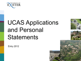 UCAS and Personal Statements presentation