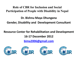 Inclusion and Social Participation of People with Disability in Nepal