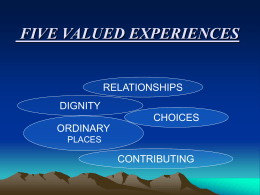 `Five Valued Experiences` presentation