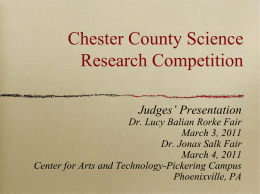 The Chester County Science Research Competition (CCSRC)
