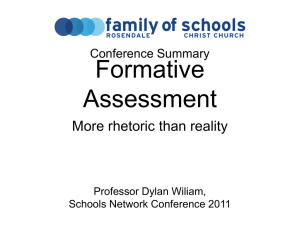 Assessment for Learning 2011 – Dylan Wiliam @ Schools Network