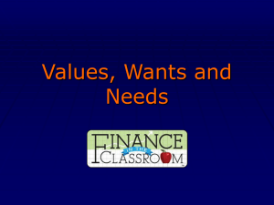 Show Values, Wants and Needs PPT