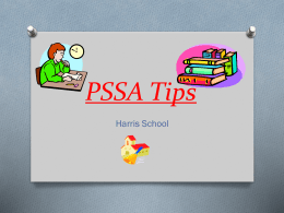 PSSA Tips