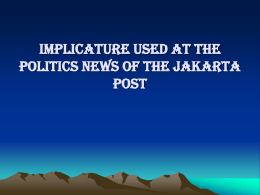 implicature used at the politics news of the jakarta post