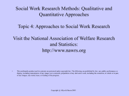 Approaches to Social Work Research