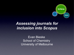 Scopus Journal Evaluation: A Case Study