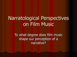 Narratological Perspectives on Film Music