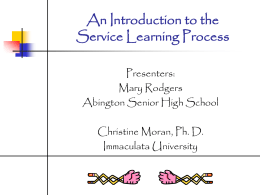 An Introduction to the Service Learning Process