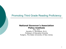 Promoting Third Grade Reading Proficiency
