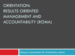 Results Oriented Management and Accountability (ROMA)