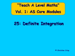 25 Definite Integration