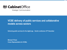 Michael O`Toole - VCSE delivery of public services and