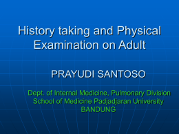 Respiratory history taking and physical examination in adults