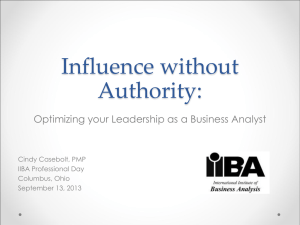 Influence without Authority - IIBA Columbus Ohio Chapter