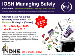 Our Latest IOSH Managing Safely Courses