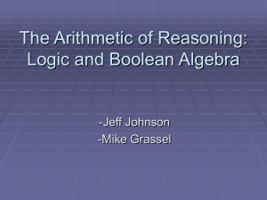 The Arithmetic of Reasoning: Logic and Boolean Algebra