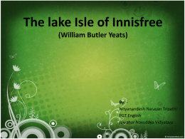 The lake Isle of Innisfree (William Butler Yeats)