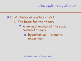 John Rawls` theory of justice