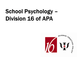 School Psychology - American Psychological Association