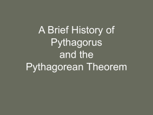 The History of Pythagorus and the Pythagorean Theorem
