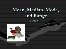 Mean Median Mode and Range