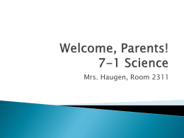 Welcome to 7-1 Science!