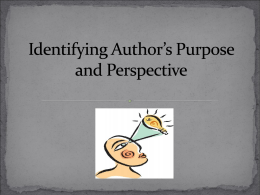 Author`s Purpose - Sweetwater Junior High School
