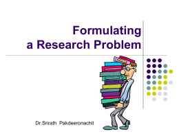 The Importance of formulating a Research Problem