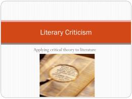 Literary Criticism/Theory