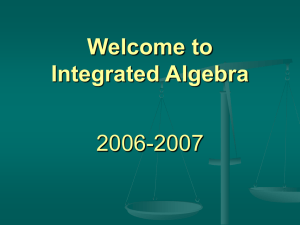 Integrated Algebra - Jamestown School District
