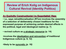 Review of Erich Kolig on Indigenous Cultural Revival (Identity Politics)