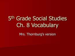 5th Grade Ch.8 Social Studies Vocabulary