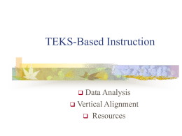 TEKS-Based Activities and Assessments