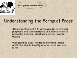 Understanding the Forms of Prose Chapter 5