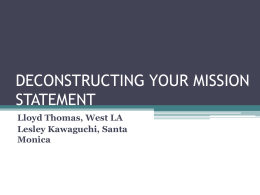 DECONSTRUCTING YOUR MISSION STATEMENT