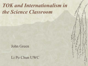 TOK and Internationalism in the Science Classroom