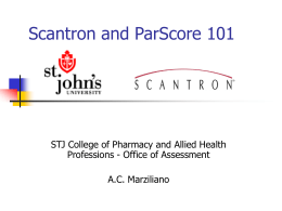 Scantron and ParScore 101